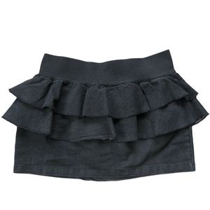 TRF Collection Layered Black Mini Jean Skirt, 10